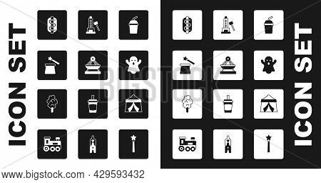 Set Paper Glass With Water, Boat Swing, Magic Hat And Wand, Hotdog Sandwich, Ghost, Striker Attracti