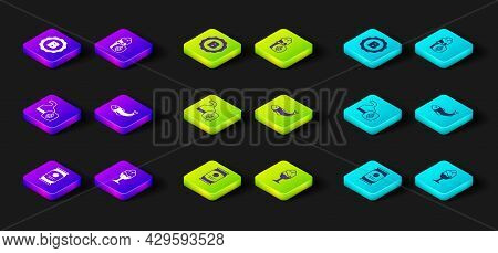 Set Beer Can, Glass Of Beer, Brewing Process, Dried Fish, And Bottle Cap With Icon. Vector