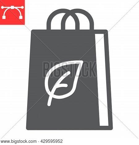 Eco Bag Glyph Icon, Reusable And Ecology, Ecobag Vector Icon, Vector Graphics, Editable Stroke Solid