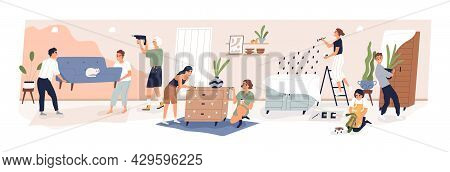 Big Family During Home Repair. People Making Renovation Of Living Room In Apartment. Parents With Ki