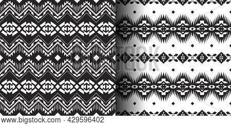 Set Of Mexican Seamless Patterns. Aztec, Navajo Geometric Print.  Ethnic Design Wallpaper, Fabric, C