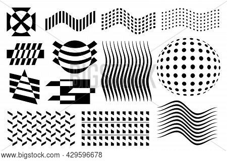Abstract Vector Geometric Figures. Black And White Pattern Shapes Set. Memphis Shapes Patterned Wave