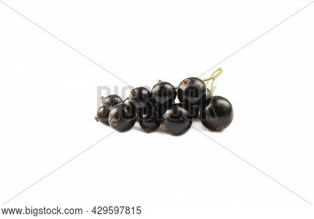 Black Berries On White. Blackcurrants Isolated On White Background. Blackcurrant Isolate. Blackcurra