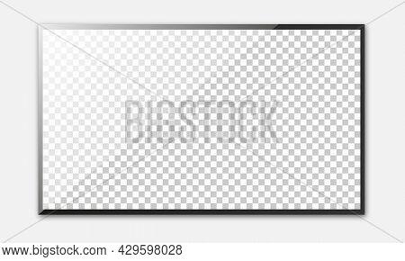 Realistic Tv Screen. Modern Stylish Lcd Panel, Led Type. Blank Television Template. Vector Illustrat