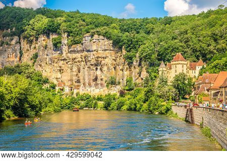 La Roque Cageac, France - June 25,2021 - View At The La Roque-gageac Village With Malartrie Castle A