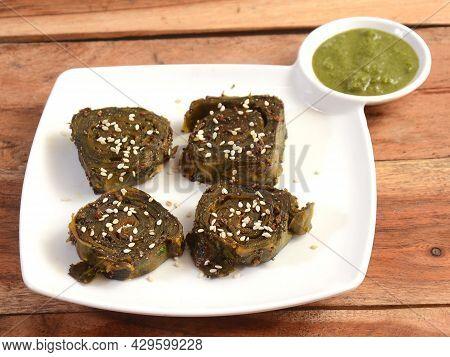 Patra Or Alu Vadi Or Alu Wadi Is A Popular Maharashtrian And Gujarati Snack Made Using Colocasia Lea