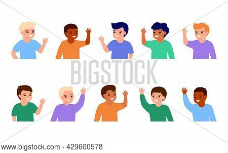 Happy Kids Waving Hands Hello. Smiling Little Children Greeting, Welcome Or Goodbye Gesture. Young F