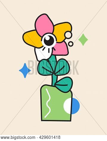 Crazy Flower Sticker Vector. Abstract Comic Character With Big Angry Eye