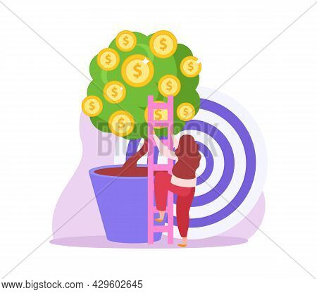 Crowdfunding Flat Icon With Female Character Climbing Money Tree Vector Illustration