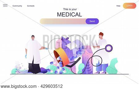 Medical Web Concept For Landing Page. Doctors Diagnose Patients And Prescribe Prescriptions, Healthc