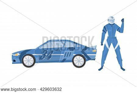 Flat Racing Car And Character Of Racer In Helmet And Blue Outfit Vector Illustration