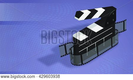 Horizontal Banner Poster With Clapperboard And Film Tape On Abstract Blue Background. Background For