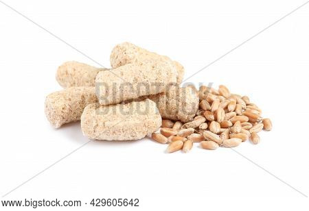 Granulated Wheat Bran And Kernels On White Background