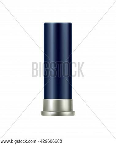 Blue Color Shotgun Bullet Realistic Vector Illustration
