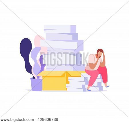 Paper Work Icon With Exhausted Man And Piles Of Documents Flat Vector Illustration