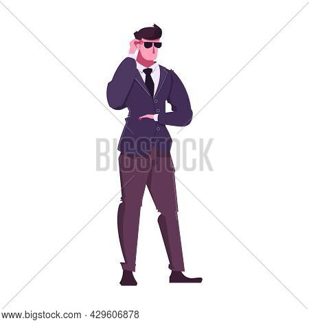 Flat Character Of Security Guard Wearing Glasses Vector Illustration