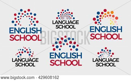 English School Logo Set, Abstract Bubbles Round Logotype Collection. Dots Sun, Sunrise, Knowledge Sy