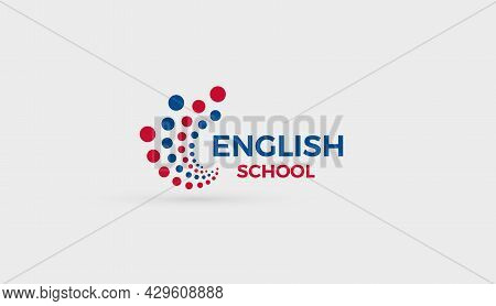English School Logo Concept. Abstract Bubbles Dots Logotype For Education, English Language Learning