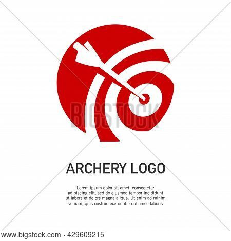 Vector Illustration Of Archery Target Logo In Negative Space Style. Perfect For The Design Element O