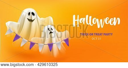 Halloween. Trick Or Treat Party. Ghosts With Garland On Orange Background With Text Halloween Trick
