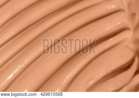 Make Up Base, Cream Textured Background. Beige Nude Liquid Foundation Texture, Concealer Smear Smudg