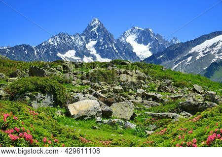 Idyllic landscape with Mont Blanc mountain range in sunny day. Mount Aiguille du Chardonnet and Aiguille d'Argentiere, Nature Reserve Aiguilles Rouges, Graian Alps, France, Europe.