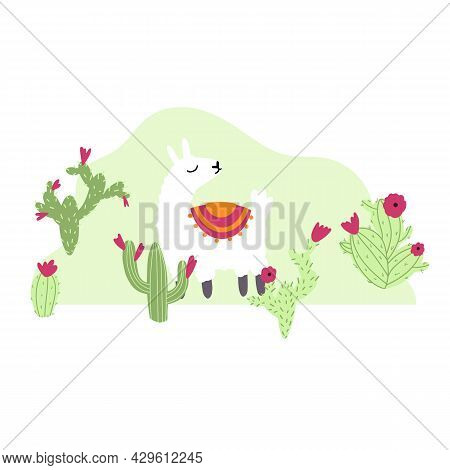 Vector Cute Lama With Cactus In Cartoon Hand Drawn Childish Style. Funny Animal Character For Nurser