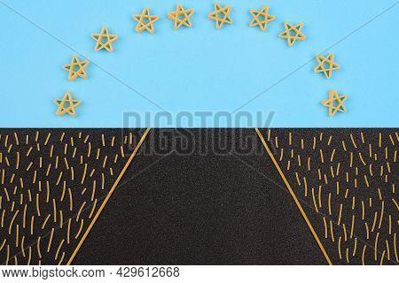 Pasta Landscape. Food Picture. Road To Future Of Pasta Food Concept. Fellini, Stelline Minute Pasta.
