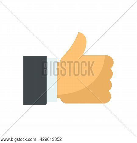 Thumb Up Reputation Icon. Flat Illustration Of Thumb Up Reputation Vector Icon Isolated On White Bac
