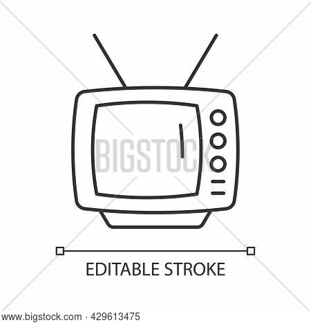Old-style Television Linear Icon. Tv Older Model. Transmitting Moving Images In Monochrome. Thin Lin