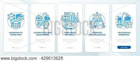 Loyalty Programs Trends Blue Onboarding Mobile App Page Screen. Tendencies Walkthrough 5 Steps Graph