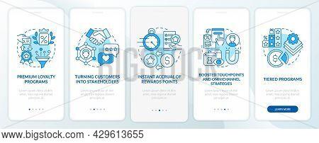 Loyalty Program Tendencies Blue Onboarding Mobile App Page Screen. Reward Program Walkthrough 5 Step