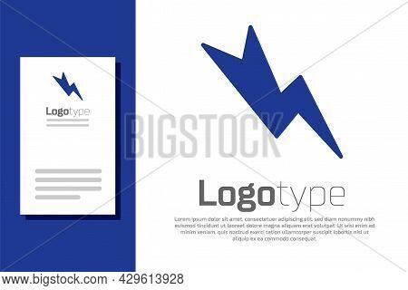 Blue Lightning Bolt Icon Isolated On White Background. Flash Sign. Charge Flash Icon. Thunder Bolt.