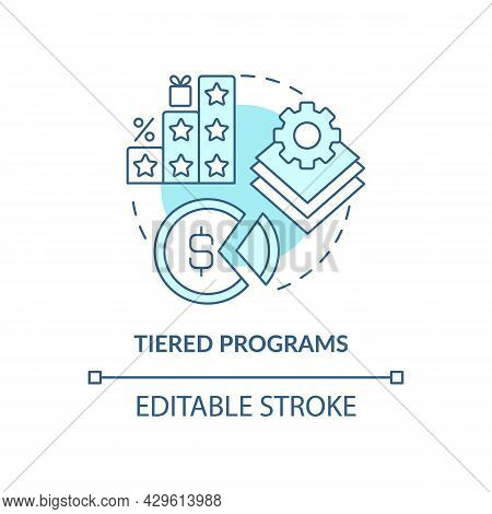 Tiered Programs Blue Concept Icon. Different Levels Of Loyalty Program Abstract Idea Thin Line Illus