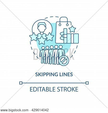 Skipping Lines Blue Concept Icon. Perks And Benefits Of Loyalty Program Abstract Idea Thin Line Illu