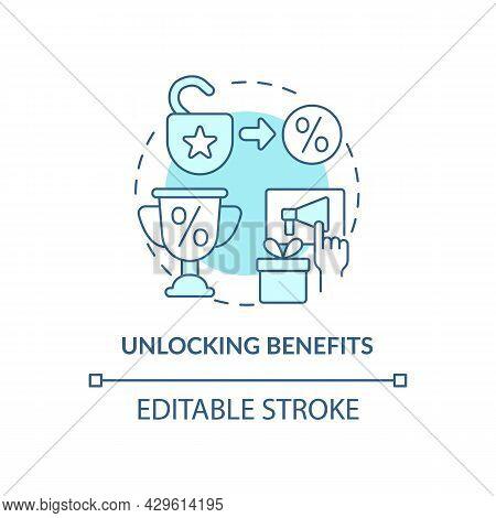 Unlocking Benefits Blue Concept Icon. Loyalty Program Gamification Abstract Idea Thin Line Illustrat