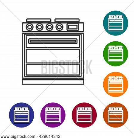 Black Line Oven Icon Isolated On White Background. Stove Gas Oven Sign. Set Icons In Color Circle Bu