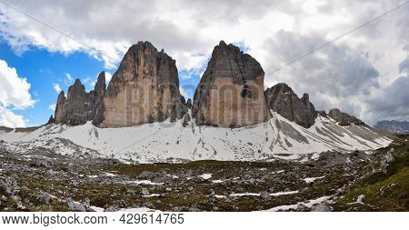 Panorama Pic Tre Cime Di Lavaredo, Three Peaks In The Dolomites, Beautiful Mountains In Italy. Large