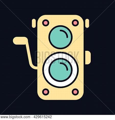 Old Photo Camera Rgb Color Icon For Dark Theme. Optical Instrument For Image Capturing. Vintage Phot