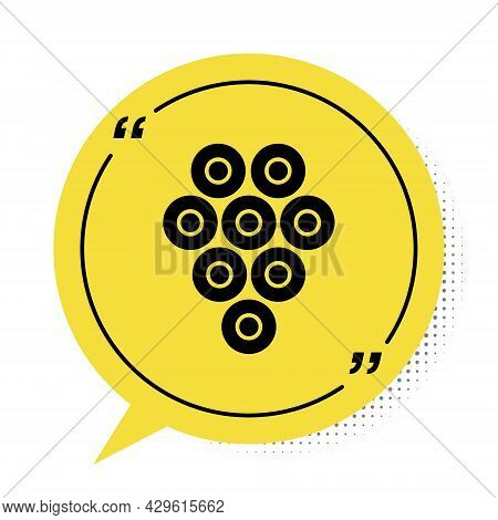 Black Caviar Icon Isolated On White Background. Yellow Speech Bubble Symbol. Vector.