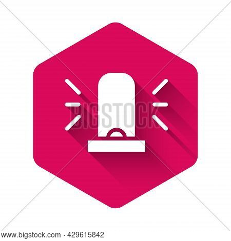 White Flasher Siren Icon Isolated With Long Shadow. Emergency Flashing Siren. Pink Hexagon Button. V