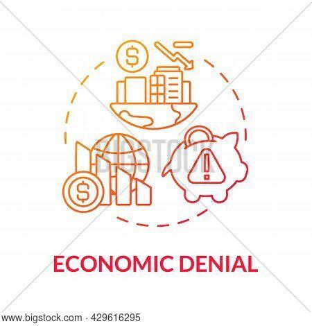 Economic Denial Gradient Concept Icon. False Threats. Climate Change Fixation Expensivity. Global Gr