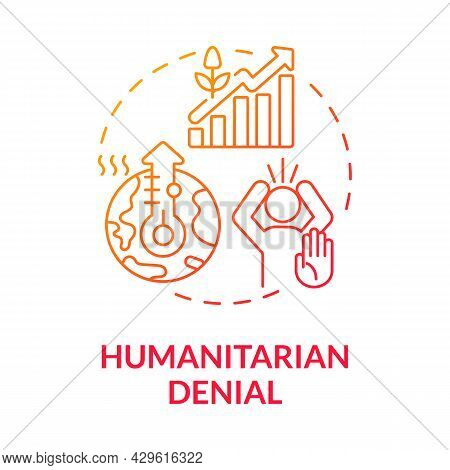 Humanitarian Denial Concept Icon. Increased Frequency Of Heatwaves. Climate Change Effects Plants Gr