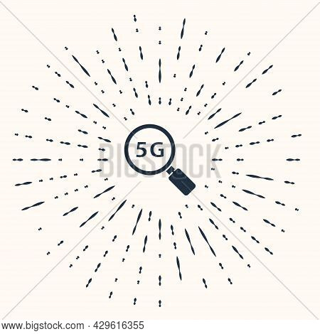 Grey Search 5g New Wireless Internet Wifi Connection Icon Isolated On Beige Background. Global Netwo