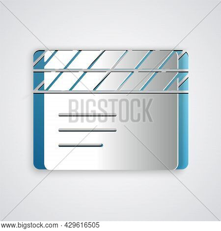 Paper Cut Movie Clapper Icon Isolated On Grey Background. Film Clapper Board. Clapperboard Sign. Cin