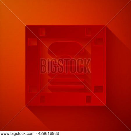 Paper Cut 26 November India Constitution Day Icon Isolated On Red Background. Paper Art Style. Vecto