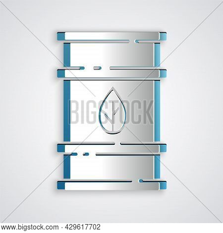Paper Cut Bio Fuel Barrel Icon Isolated On Grey Background. Eco Bio And Canister. Green Environment