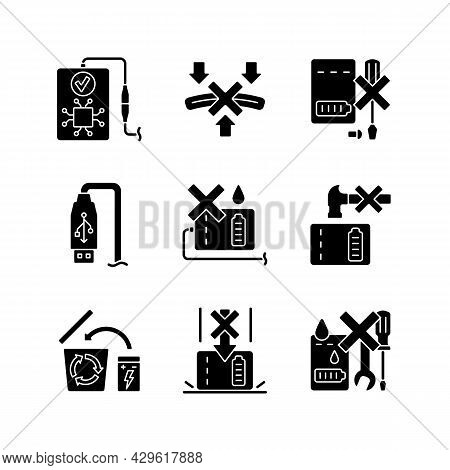 Power Bank Instruction Black Glyph Manual Label Icons Set On White Space. Avoid Short-circuiting Ris