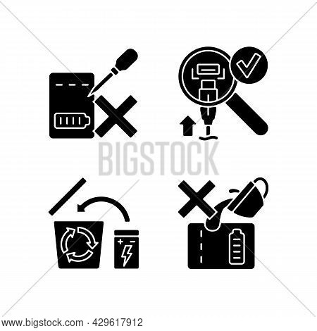 Portable Charger Guidelines Black Glyph Manual Label Icons Set On White Space. Charger Disposal. Dam