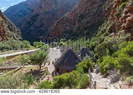 Meiringspoort, South Africa - April 5, 2021: The Parking Area At The Meiringspoort Waterfall In The